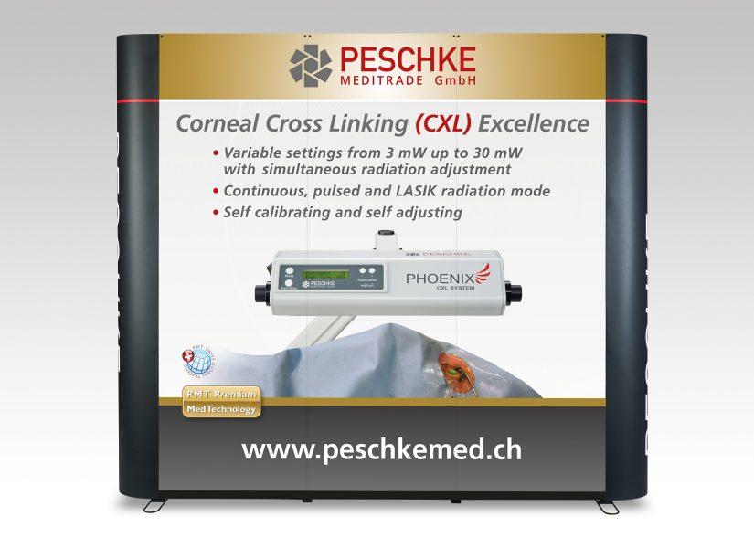 Popup Messestand für die Peschke Meditrade GmbH - leicht aufzubauen und zu transportieren und in einem edlen Design.