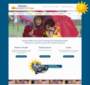 Website der Kinderfondsstiftung Röder in einem freundlichen Design in blau und gelb - von Konzeption bis Programmierung.