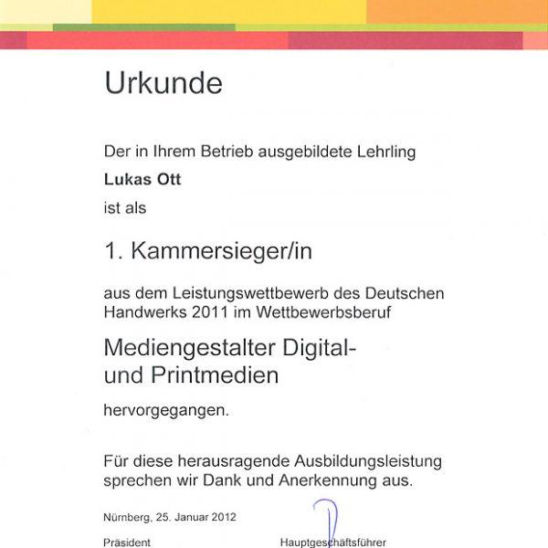 Scan einer Urkunde des Lehrlings Lukas Ott als 1. Kammersieger.