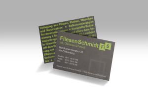 Visitenkarten für den Fliesenleger Christian Schmidt aus Nürnberg in einem stilvollen dunklem Design mit Hellgrünen Akzenten.