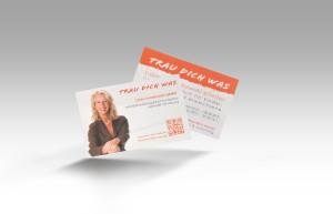 """Persönliche Visitenkarten mit Portraits für Caren Mankowski-Pfeifer von """"Trau-Dich-Was"""" in knalligem Orange."""