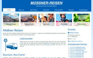 Der von uns konzipierte, neue Webauftritt der Firma Mossner-Reisen in freundlichem Blau, inklusive Tagwort-Karussell auf der Startseite.