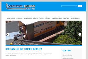 """Startseite der neuen Homepage von """"Scheuere Umzüge"""" in Silber- und Blautönen mit einem Slider, der Eindrücke über die Arbeitsweisen vermittelt."""