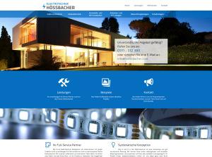 Screenshot der Startseite für den Elektrotechnikbetrieb Hössbacher, mit integriertem Slider und einem großflächigem Parallax Hintergrund.