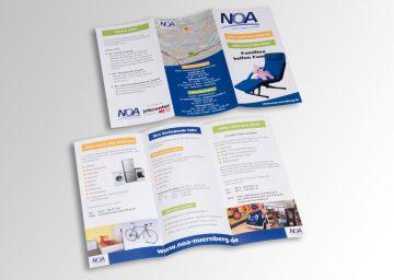 Gestaltung und Produktion einer mehrfarbigen Flyers der Firma Noa.