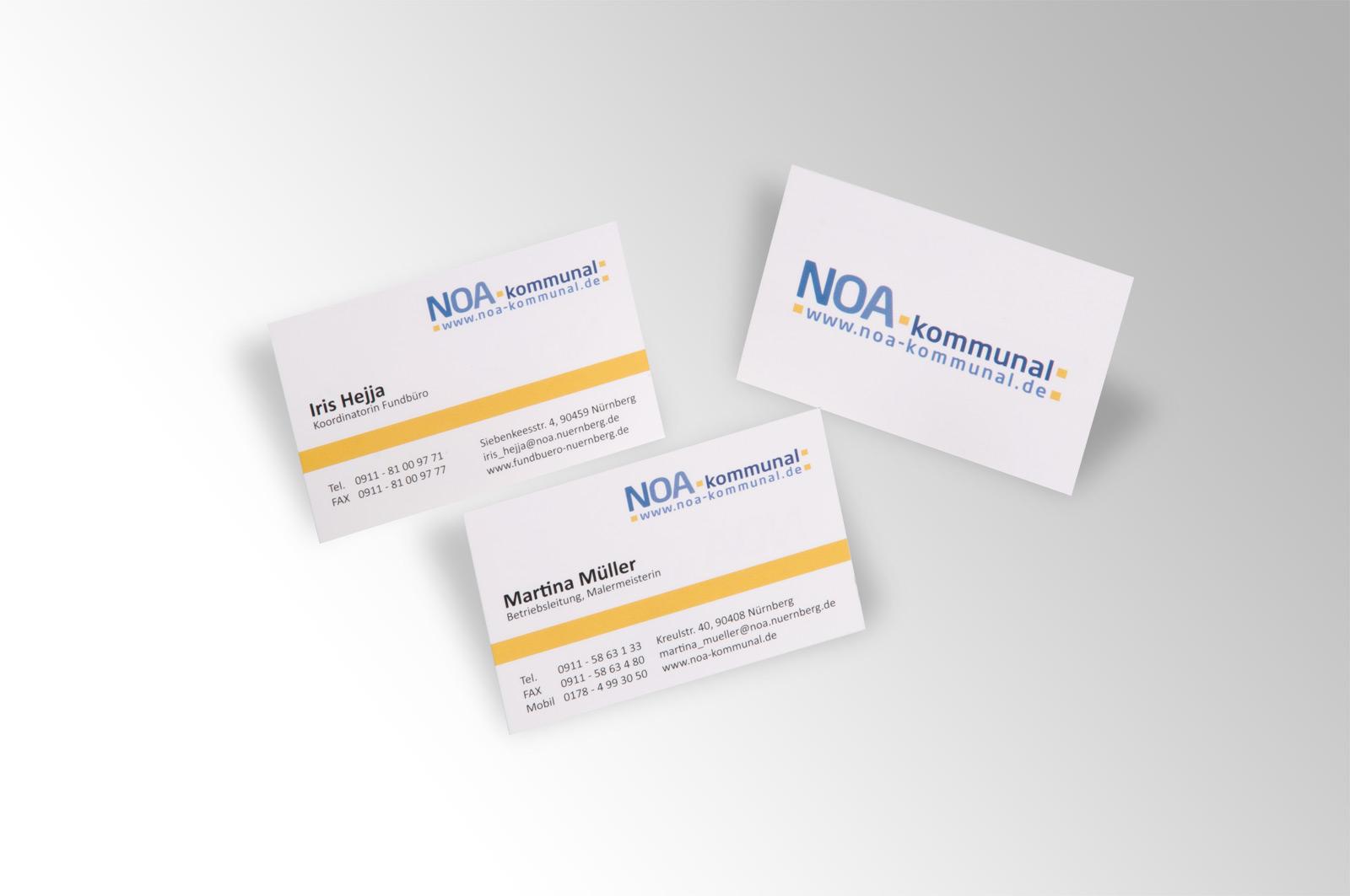 Visitenkarten Noa Kommunal Werbeagentur Focus Ihre