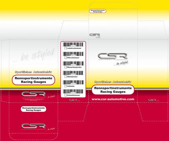 Aufgeklppte Verpackung Rennsportinstrumente Racing Gauges von CSR Automotive
