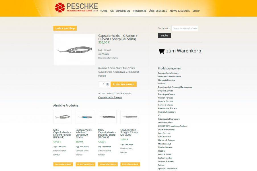 Screenschot des Onlineshops für Peschke