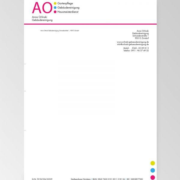 Geschäftspapier der Firma Anna Orlinski Gebäudereinigung