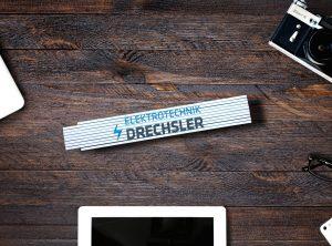 Bedruckter Meterstab für die Firma Elektrotechnik Drechsler