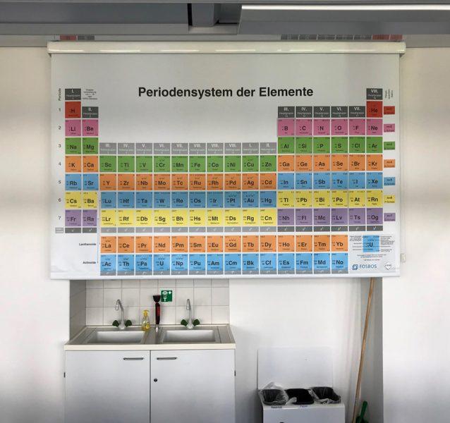 Rolldown mit bedrucktem Periodensystem für die FOSll aus Nürnberg