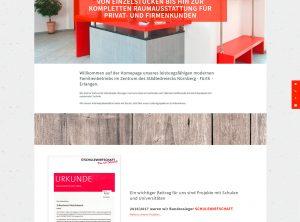 Screenshot der Homepage für der Schreinerei Fleischmann aud Fürth