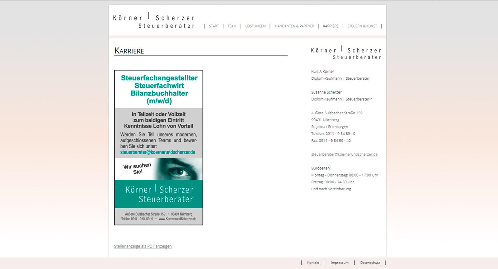 Screenshot der Stellenanzeige auf der Homepage von Körner und Scherzer