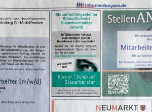 Stellenanzeige von Körner und Scherzer in den Nürnberger Nachrichten