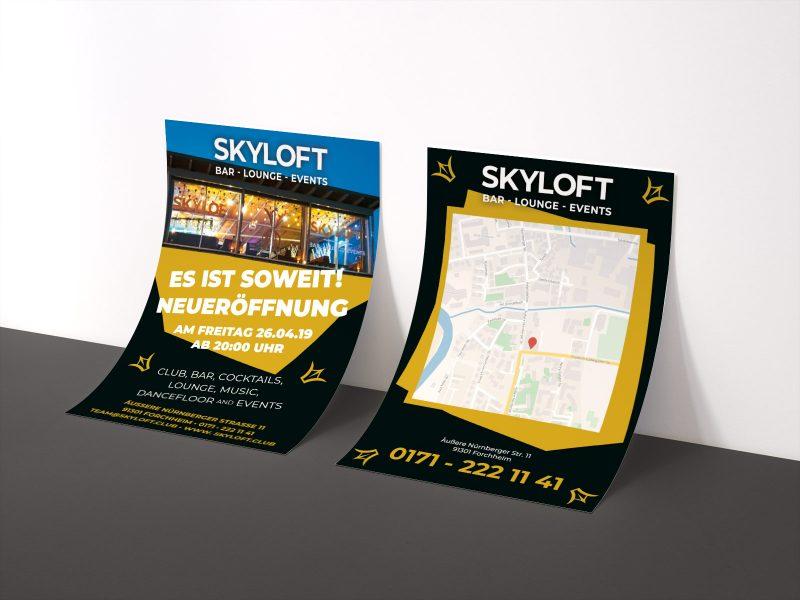 Vorder- und Rückseite eines Flyers für Skyloft