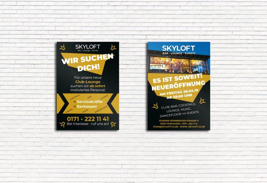 Zwei Poster für Skyloft aus Forchheim