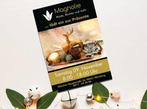 Weihnachtsflyer für Magnolie