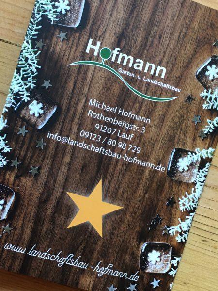 Rückseite einer Weihnachtskarte für den Garten- und Landschaftsbau Hofmann