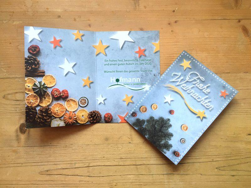 Klapp-Weihnachtskarte für Garten- und Landschaftsbau Hofmann