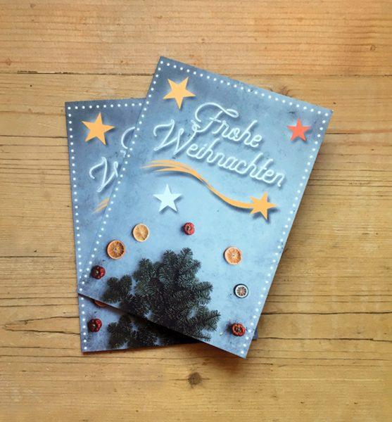Zwei Weihnachtskarten für Garten- und Landschaftsbau Hofmann