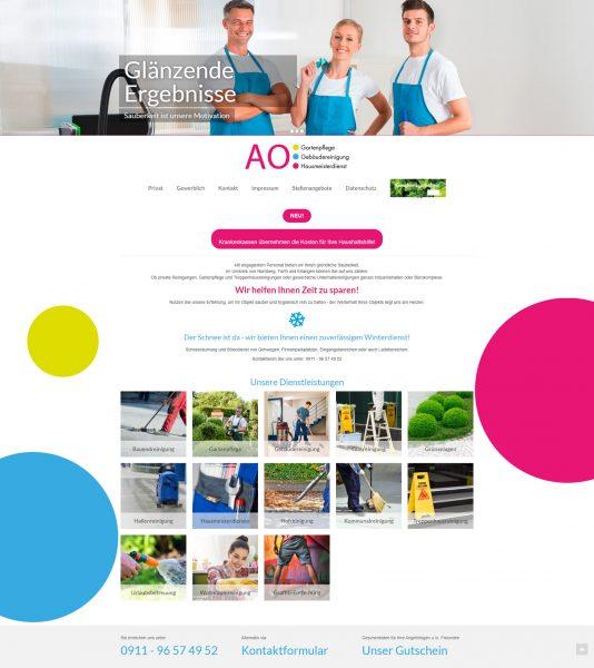 CMS-Webseite einer hiesigen Reinigungsfirma.