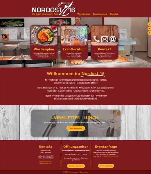 Screenshot der Nordost16 Startseite im Ganzen