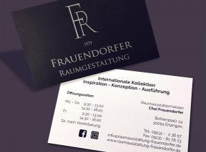 Visitenkarten für den Raumausstatter Frauendorfer von beiden Seiten dargestellt