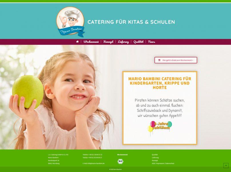 Screenshot der Mario Bambini Startseite
