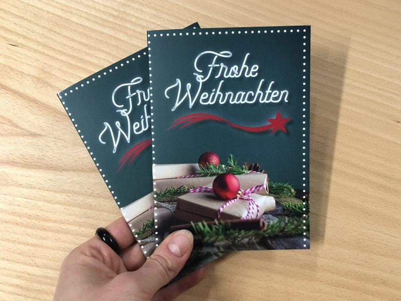 Klappkarte - Weihnachten - Titelseiten zweier Weihnachtskarten 2020 für Hofmann Garten- und Landschaftsbau