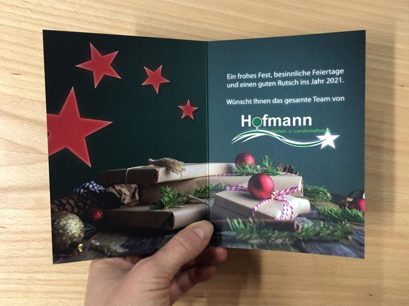 Klappkarte - Weihnachten - Innenseiten der Weihnachtskarte 2020 für Hofmann Garten- und Landschaftsbau