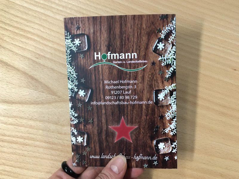 Klappkarte - Weihnachten - Rückseite der Weihnachtskarte 2020 für Hofmann Garten- und Landschaftsbau