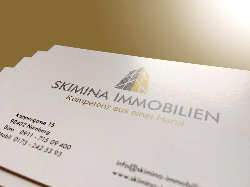 Detailaufnahme - Visitenkarten für Skimina Immobilien
