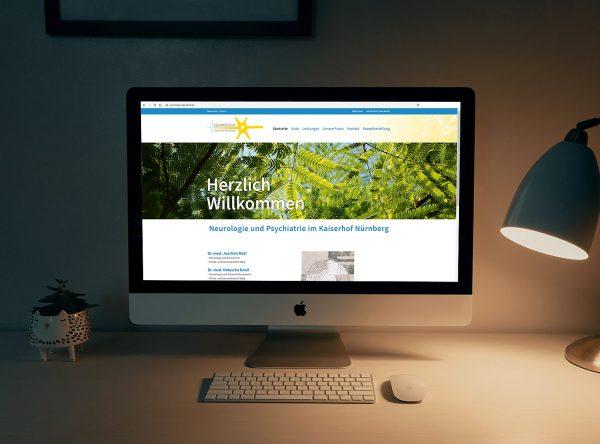 Screenshot des Webauftritts der Neurologie im Kaiserhof in Nürnberg (neurologie-kaiserhof.de)