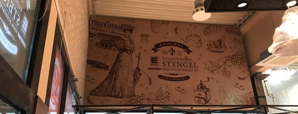 Spannrahmen mit Textildruck - an der Wand im EDEKA Stengelladen in Fürth